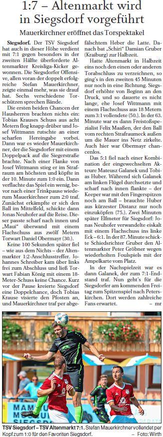 Spieltag 5: TSV Altenmarkt - TSV Siegsdorf 2019/2020
