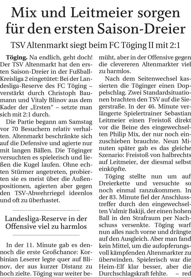 Spieltag 10: TSV Altenmarkt - TSV Töging 2019/2020