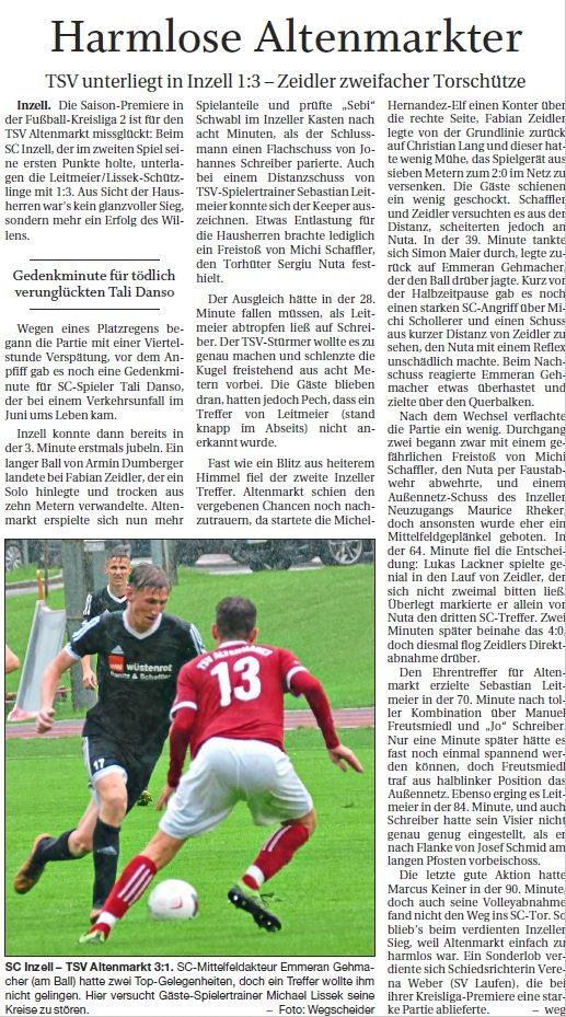 Spieltag 1: TSV Altenmarkt - SC Inzell 2019/2020