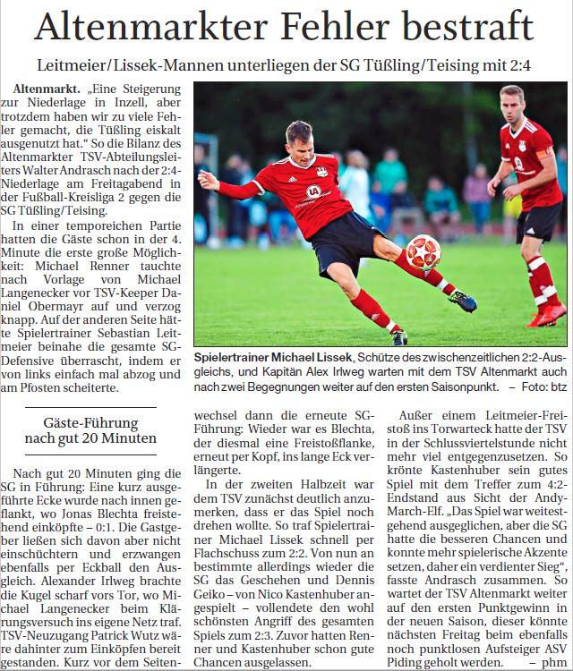 Spieltag 2: TSV Altenmarkt - SV Tüßling 2019/2020