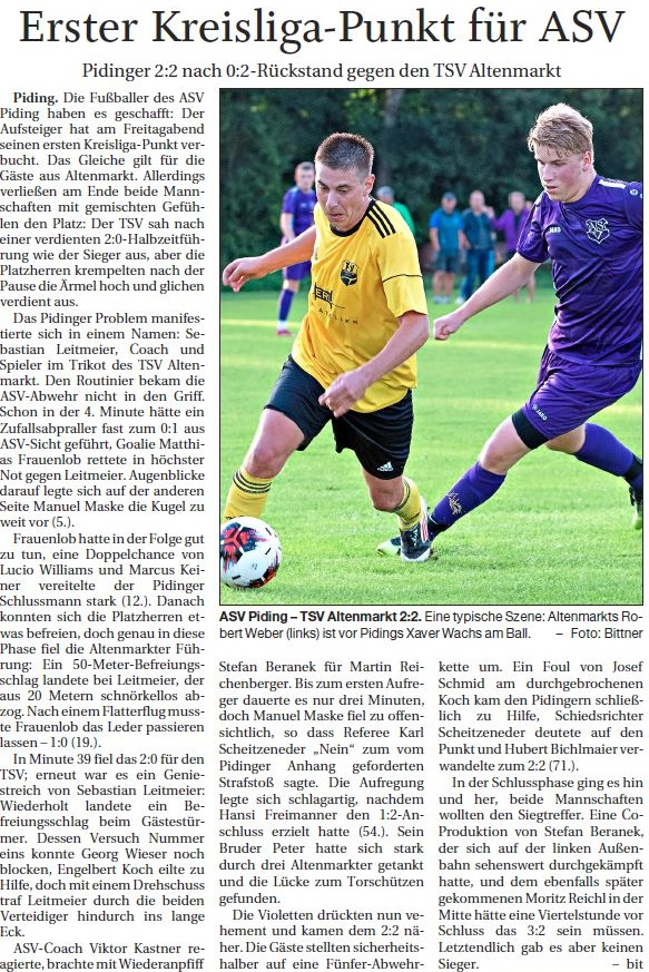 Spieltag 3: TSV Altenmarkt - ASV Piding 2019/2020