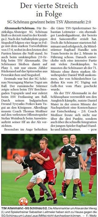 Spieltag 4: TSV Altenmarkt - SG Schönau 2019/2020
