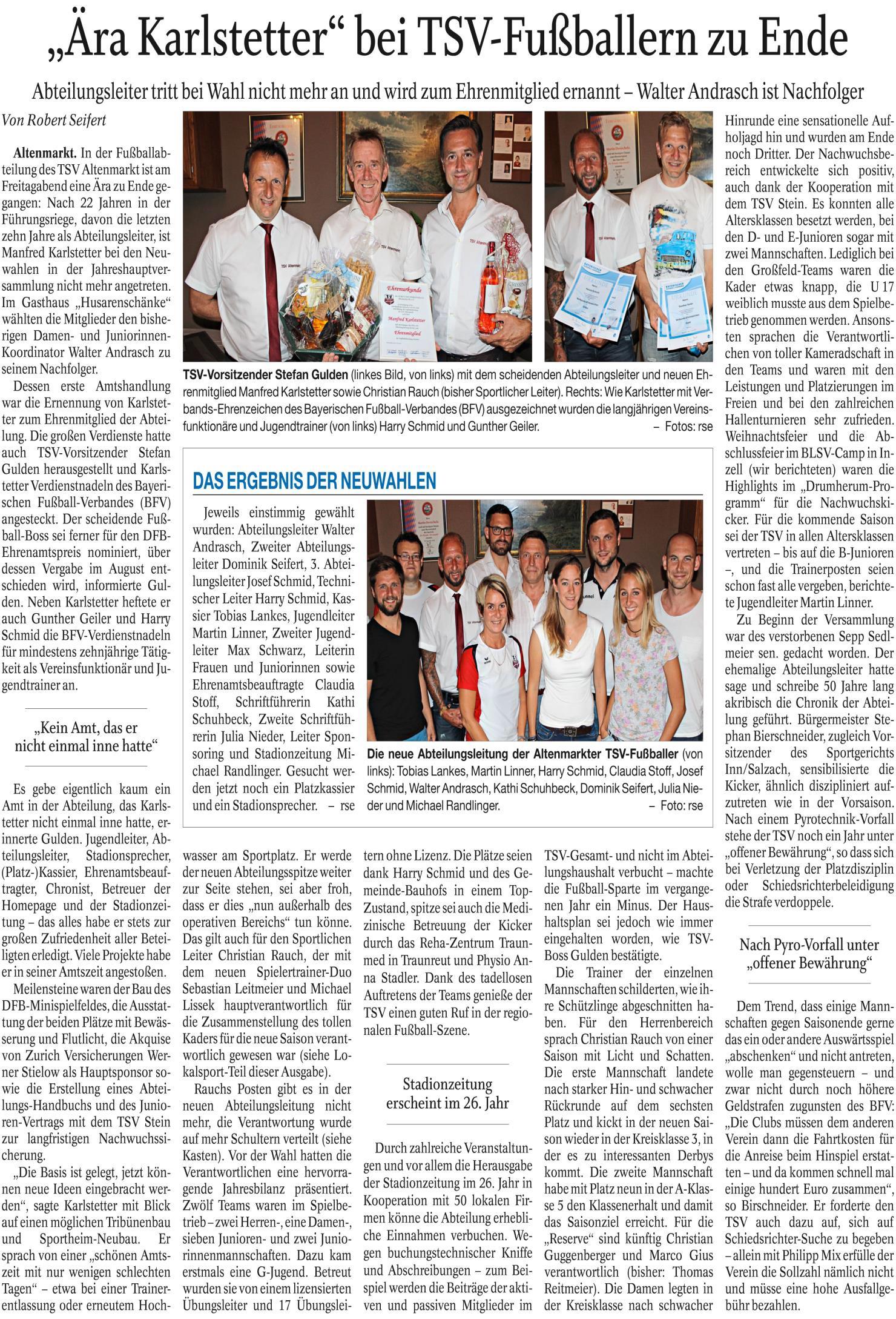 Zeitungsbericht JHV 2017