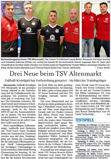 Spielertransfer: Herrenbereich 2018/2019