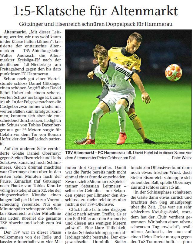 Spieltag 6: TSV Altenmarkt - FC Hammerau 2019/2020