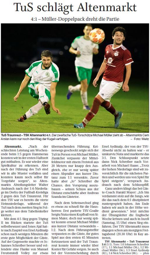Spieltag 7: TSV Altenmarkt - TuS Traunreut 2019/2020