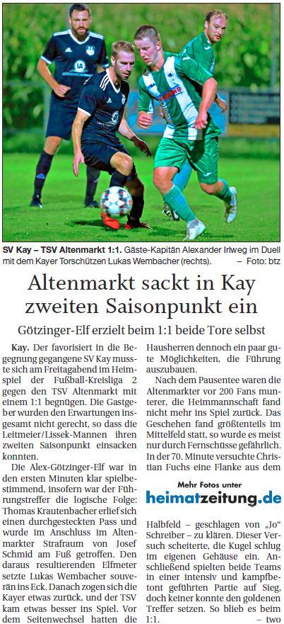 Spieltag 8: TSV Altenmarkt - SV Kay 2019/2020