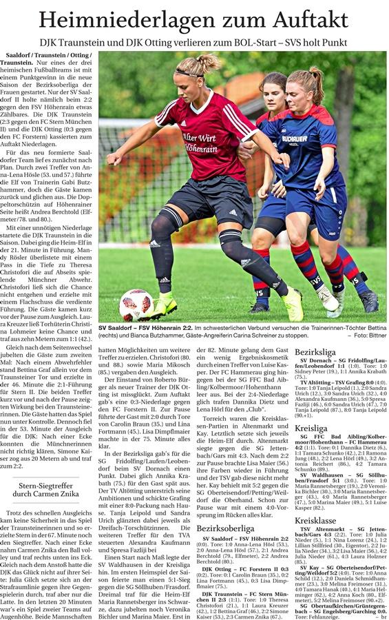01. Spieltag: TSV Altenmarkt - SG Jettenbach/Gars 2019-2020