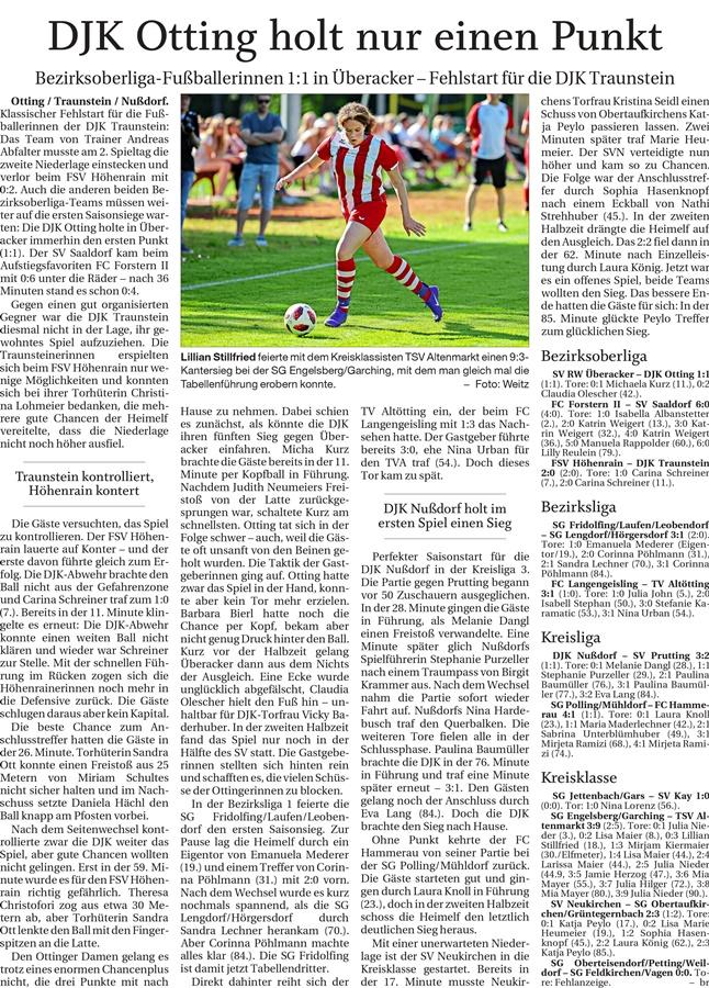 02. Spieltag: TSV Altenmarkt - SG Engelsberg/Garching 2019-2020