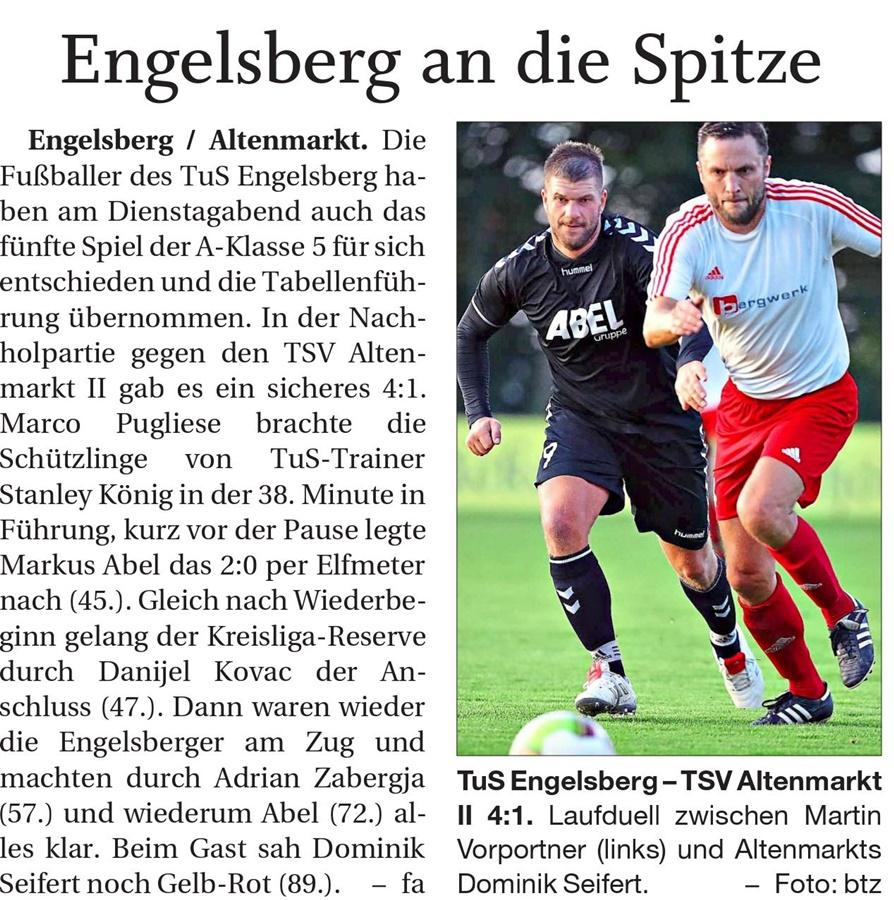 02. Spieltag: TSV Altenmarkt - TuS Engelsberg 2019-2020
