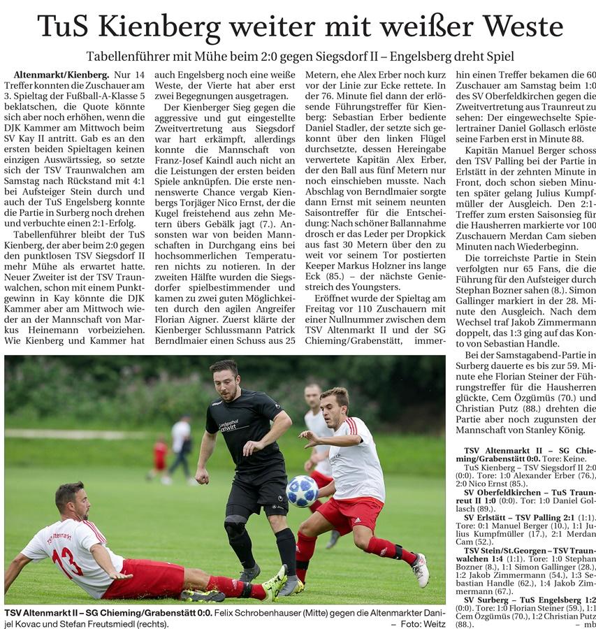 03. Spieltag: TSV Altenmarkt - SG Chieming/Grabenstätt 2019-2020