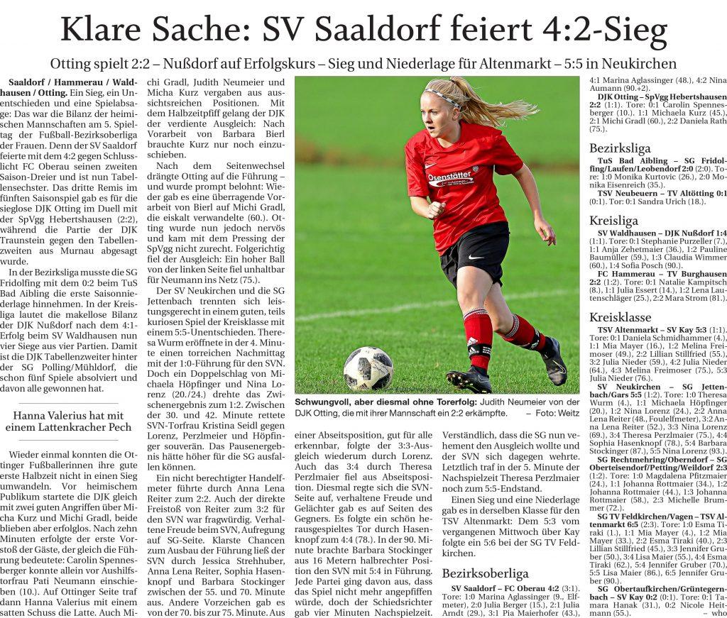 05. Spieltag: TSV Altenmarkt - SG Feldkirchen/Vagen 2019-2020