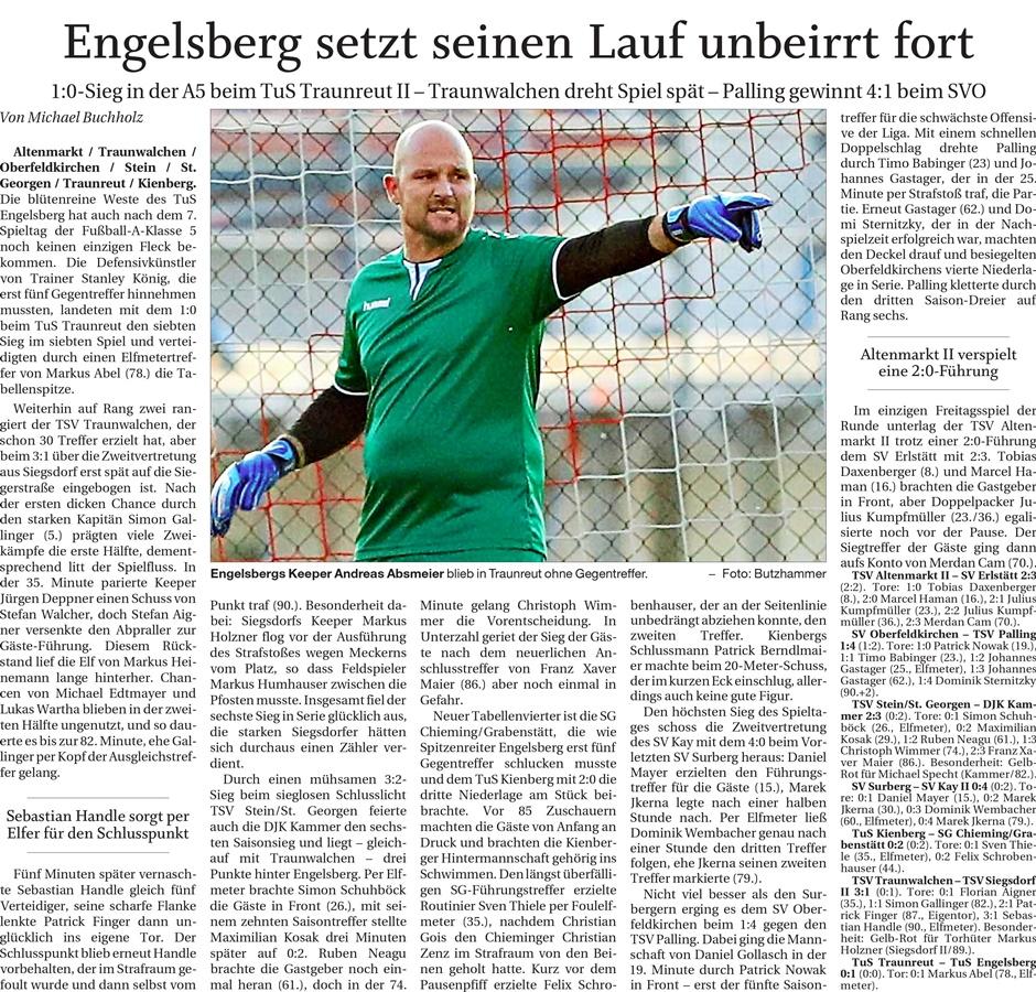 07. Spieltag: TSV Altenmarkt - SV Erlstätt 2019-2020