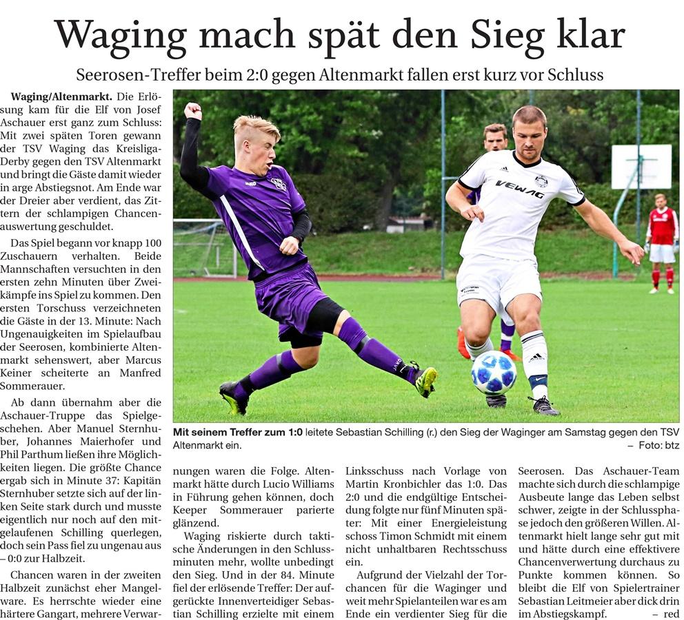 14. Spieltag: TSV Altenmarkt - TSV Waging/See 2019-2020
