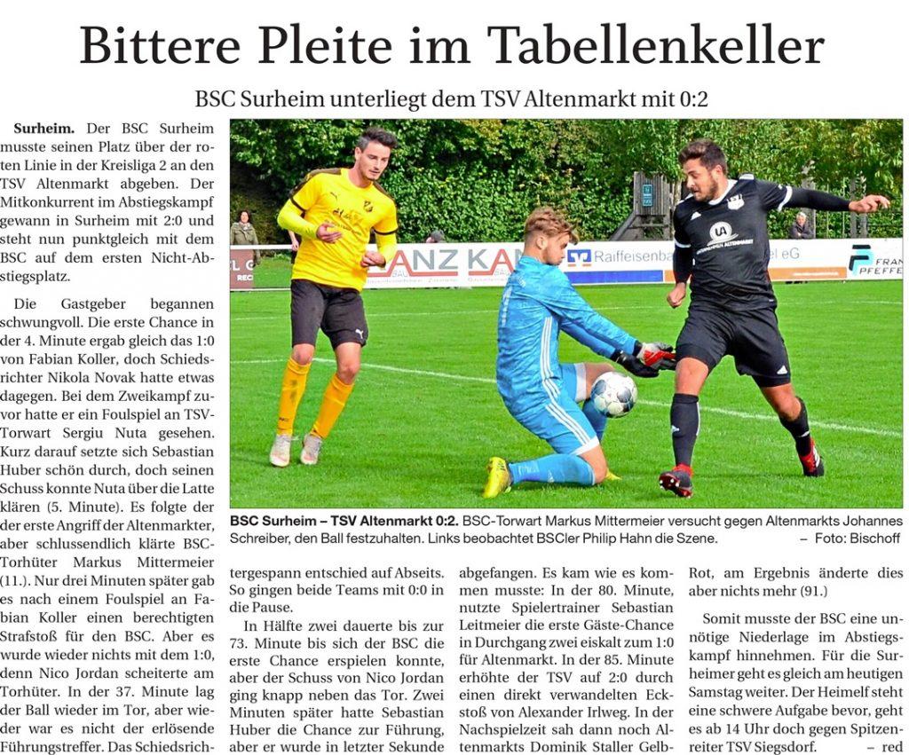 Spieltag 11: TSV Altenmarkt - Surheim 2019/2020
