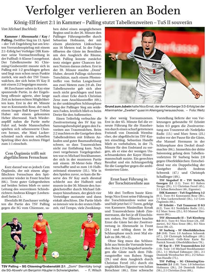 13. Spieltag: TSV Altenmarkt - TuS Kienberg 2019-2020