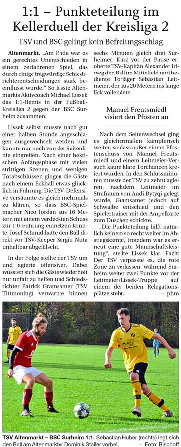 16. Spieltag: TSV Altenmarkt - BSC Surheim 2019-2020